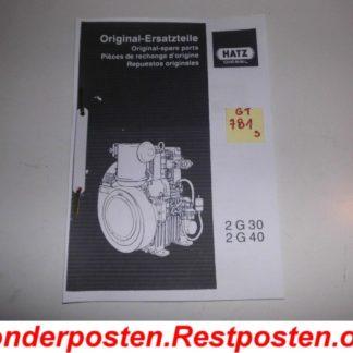 Hatz Diesel Motor 2 G 30 Ersatzteileliste GS781